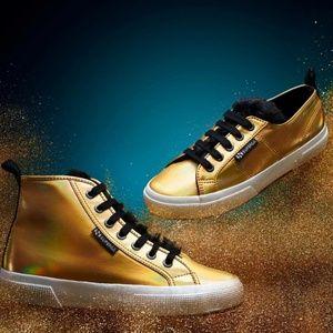 Superga x Jocelyn Gold High Top Sneakers Faux Fur